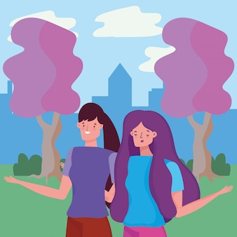 Women in park vector design