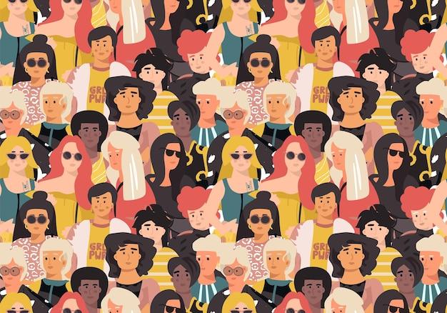 Women pattern. cute international girl faces, seamless sketch