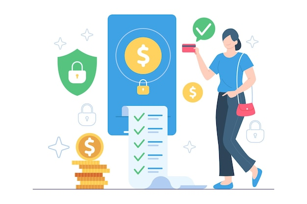 Women pay bills safely online illustration