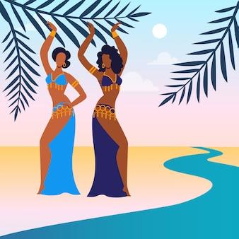 Women perform belly dance flat
