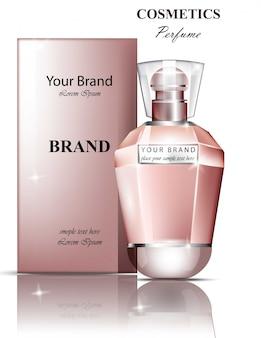 女性の香水ボトルの香り。現実的なベクター製品のパッケージデザインはモックアップ