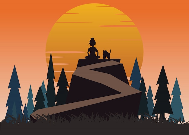 Women and pet on a cliff vector illustration