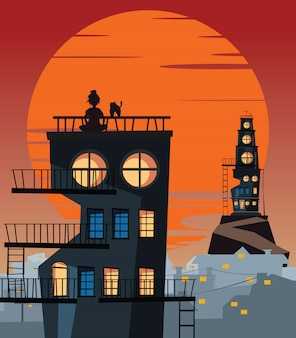 Women and pet on a rooftop vector illustration