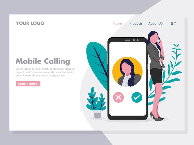 Women on a phone illustration for landing page
