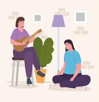 Женщины, играющие на гитаре дома, дизайн деятельности и досуга