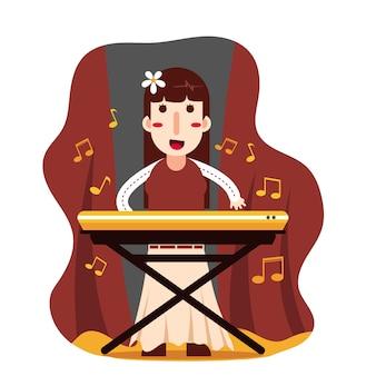 女性がキーボードを演奏する