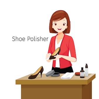 Women polishing her shoes, female shoe polisher