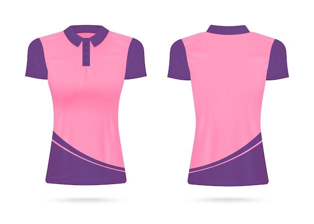 女性のポロシャツやピンクと紫の色、前面と背面の透明な背景の現実的なsイラストの襟のtシャツ。ファッションシャツ。
