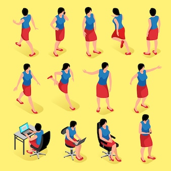 Женщина представляет изометрический набор женских персонажей в разных положениях фигуры, сидя и стоя