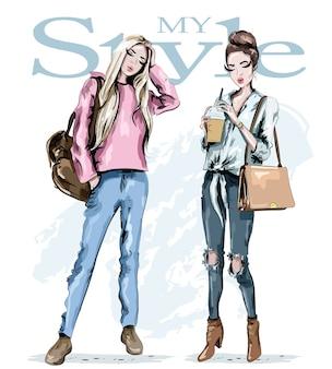 Женщины позируют для обложки моды