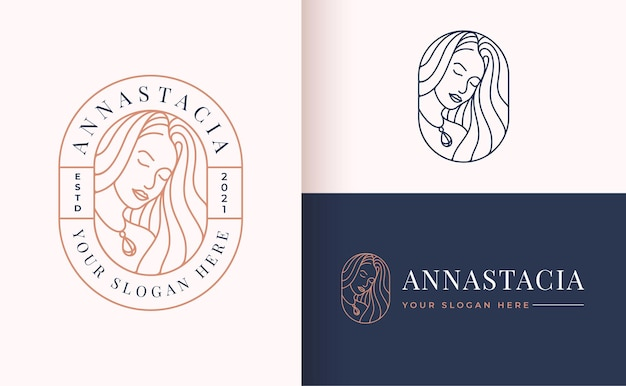 Women potrait linear style logo design