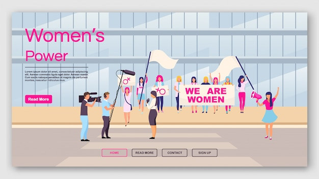 Women power landing page template. feminist protest website interface idea with flat illustrations.