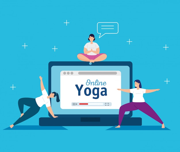 Women practicing yoga online technology