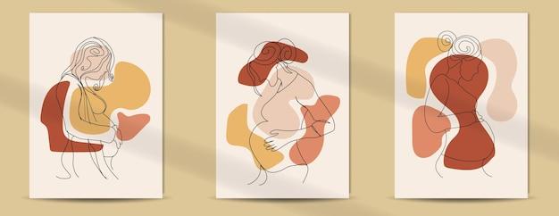 母の日と女性の日のための女性の妊娠中のラインアートスタイルの自由奔放に生きるポスター Premiumベクター