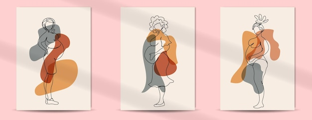 母の日と女性の日のための女性の妊娠中のラインアートスタイルの自由奔放に生きるポスター
