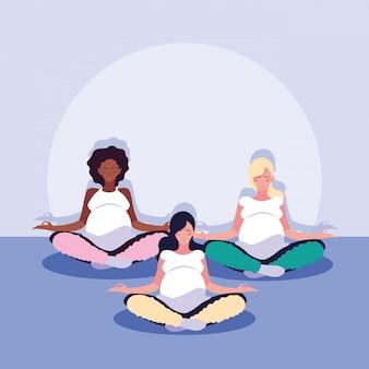 Women pregnant lotus position avatar character