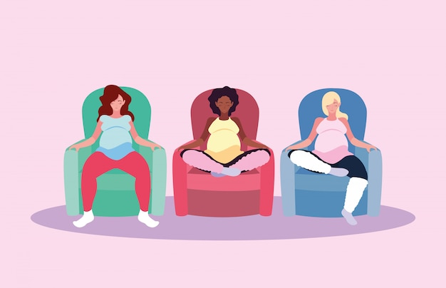 Women pregnant seated in sofa avatar character