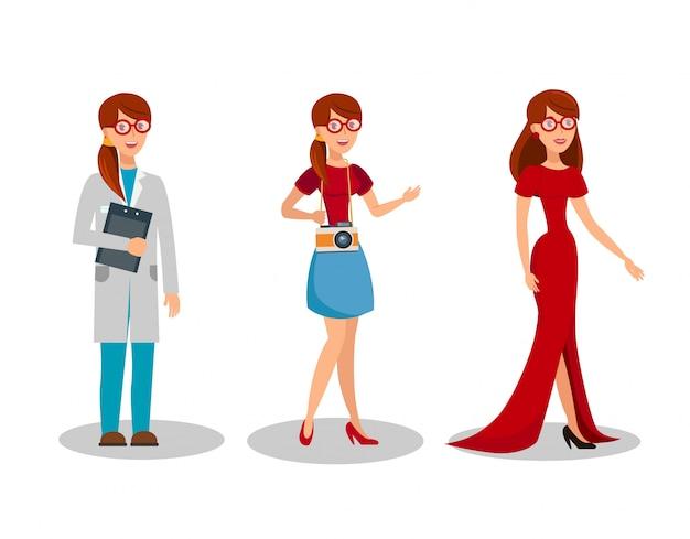 女性の職業フラットベクトルイラストセット