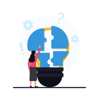 Women put piece of puzzle on the bulb metaphor of problem solving.