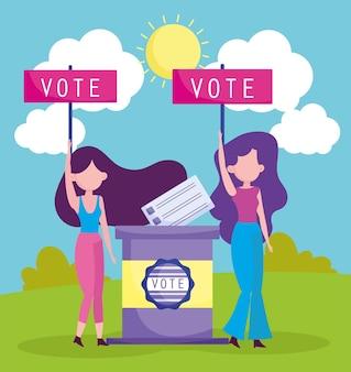 Women putting vote