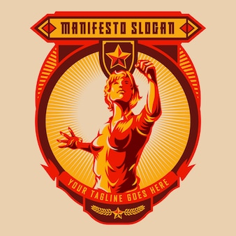Women raised fist demonstration badge