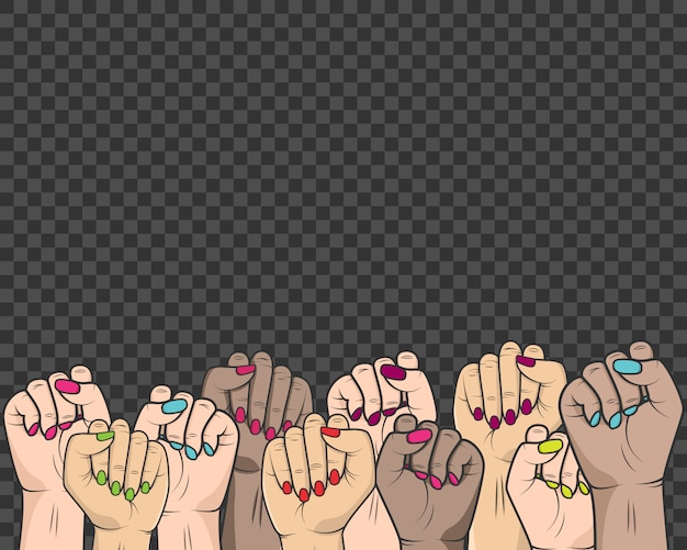 Women raised their hands in the fight against the oppression of the rights of women and people