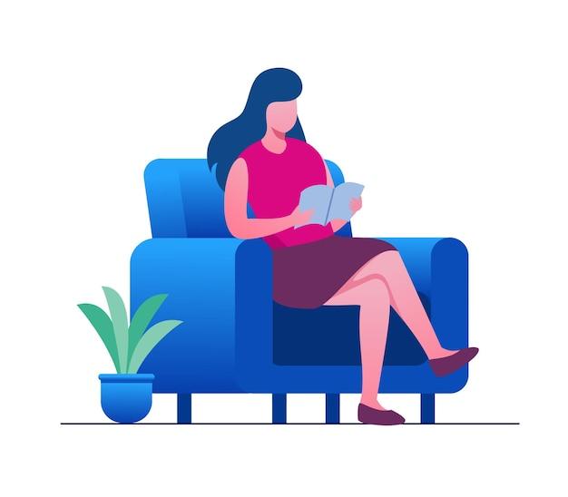 책을 읽고 파란 의자에 앉아 있는 여성. 평면 벡터 일러스트 템플릿