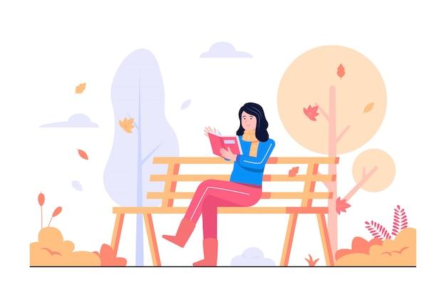 Women reading books in the park concept illustration