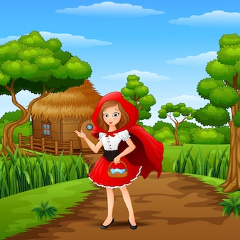 Women red hooded at countryside