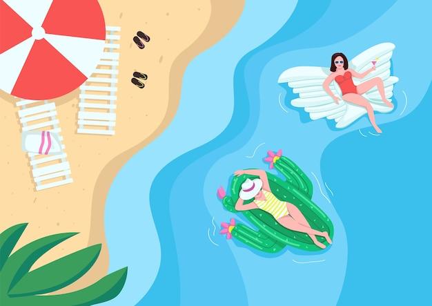 모래 해변에서 휴식하는 여성 평면 색상. 에어 매트리스 위에 떠있는 사람들. 풍선. 배경에 자연과 여름 휴양 2d 만화 캐릭터
