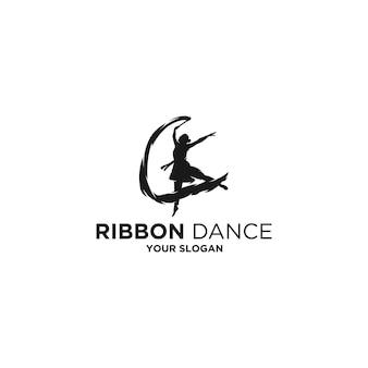 女性のリボンダンスシルエットロゴ