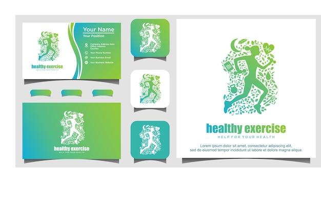 Женщины, бегущие за здоровой иллюстрацией дизайна логотипа