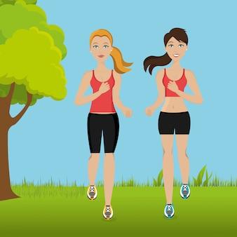 Женщины бегут в пейзаже