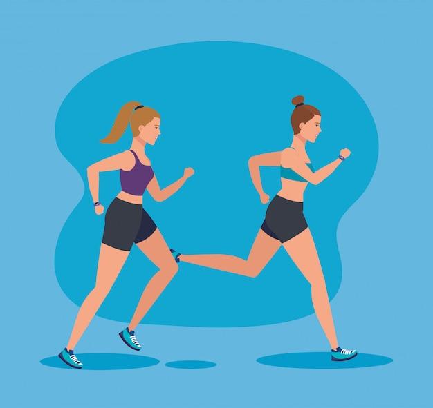 Women running to sport practice activity