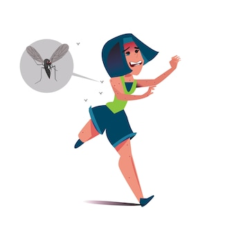 Women runs away from mosquitoes