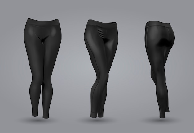 Women's black leggings mockup.