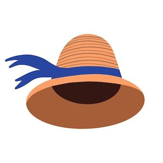 リボン付きの女性のクローシェ帽子。エレガントな夏の頭飾り。ベクトルイラスト