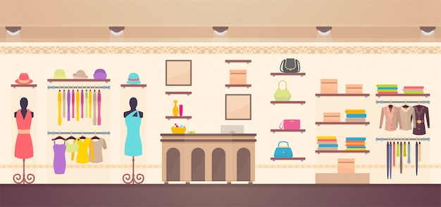 Women's clothes store illustration shopping