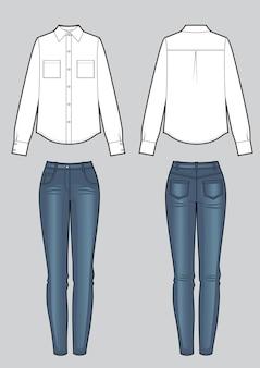 Комплект женской одежды из блузки и синих джинсов скинни. векторные шаблоны спереди, сзади для дизайна одежды. модный вид. изолированные на белом фоне.