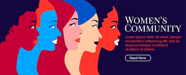 Women's community and feminism movement banner