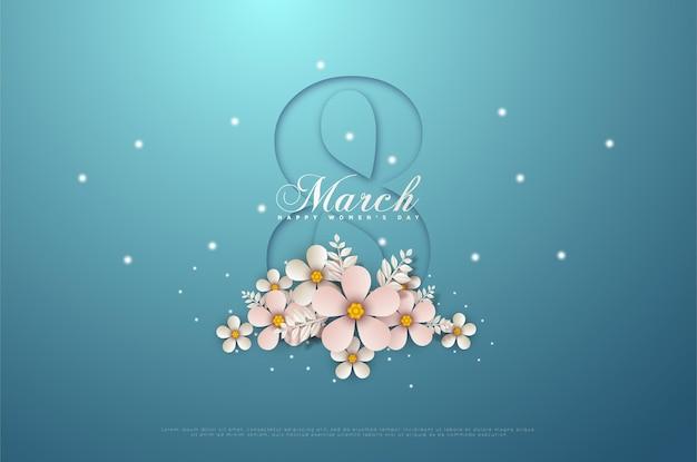 Женский день 8 марта карта с штриховой графикой, образующей восьмерку.