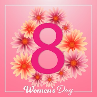 Women's day 8 march colorful flowers pink background.