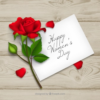 Women's day background in realistic style with a letter