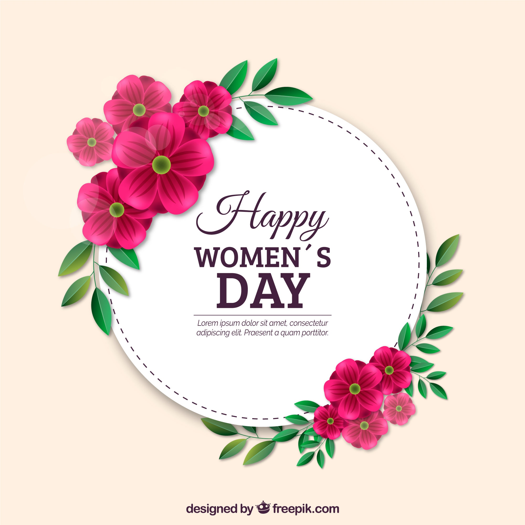 Women's day background in realistic style