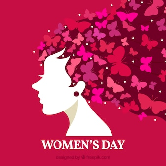 Women's day background with butterflies