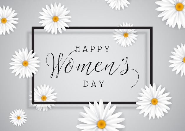Women's day background with daisies