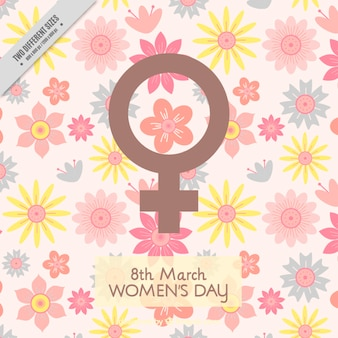 Women's day background with decorative flowers in pastel colors