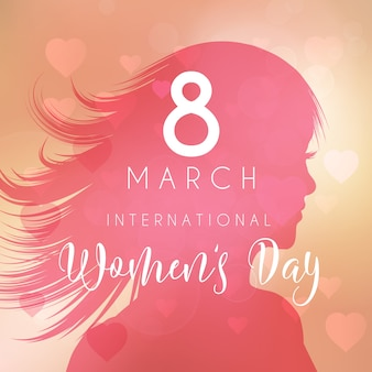 Womens Day Background With Female Silhouette