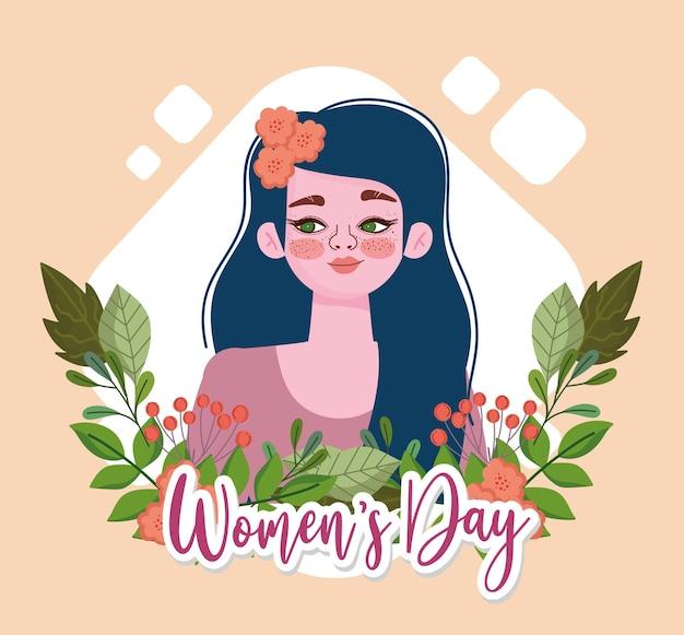 花と女性の日の背景