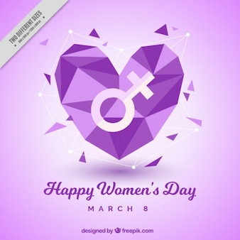Women's day background with geometric heart in purple tones